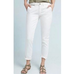 Anthropologie Embroidered Chino Pants White 25 New